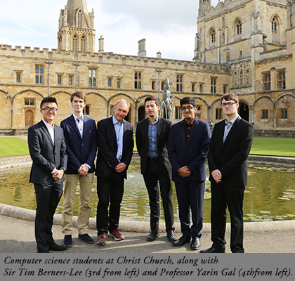Computer science students at Christ Church, along with Sir Tim Berners-Lee (third from left) and Professor Yarin Gal (fourth from left).