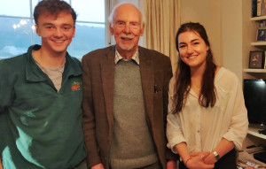 Rosalie and Matt with a member of the 1955 expedition, Gordon Pickles