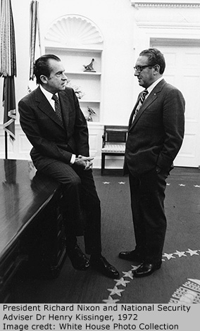 President Richard Nixon and National Security Adviser Dr Henry Kissinger, 1972. Image credit: White House Photo Collection
