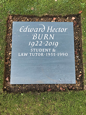 Slate memorial plaque to Edward Burn