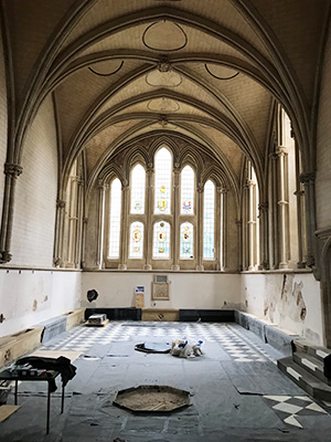 Interior of the Chapter House after shop fittings have been removed.