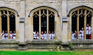 Members of the Choir photographed in the Cloister