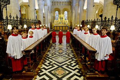 Choristers in the Cathedral stalls