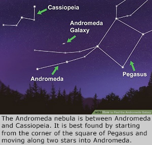 The Andromeda nebula is between Andromeda and Cassiopeia. It is best found by starting from the corner of the square of Pegasus and moving along two stars into Andromeda.