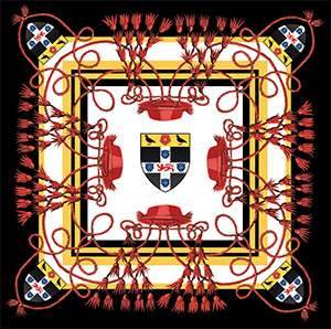 Silk scarf with Christ Church crest and Cardinal's Hat design