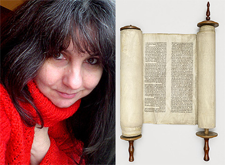 Keeper of Special Collections, Cristina Neagu, and a Hebrew scroll form the collections