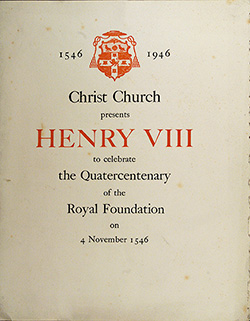 Programme cover for the production of Henry VIII to celebrate the Quatercentenary