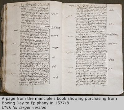 Manciple's purchasing in 1577/78