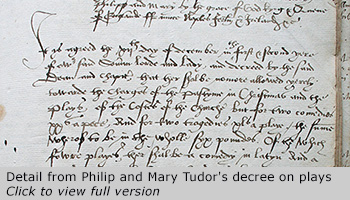Philip and Mary Tudor's decree on plays