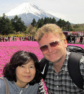 Professor Philip Rush in front of Mt Fuji