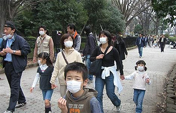 Japanese citizens wearing face masks