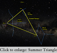 the summer triangle of Vega, Deneb and Altair are high in the sky in July and August. [Note this image come from https://www.adirondackskycenter.org/news-blogs/Astro-Quiz-40-Summer-Triangle