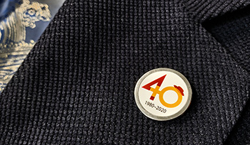 Women 40th pin badge