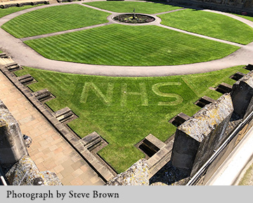 NHS mown into the lawn of Tom Quad. Photograph by Steve Brown.