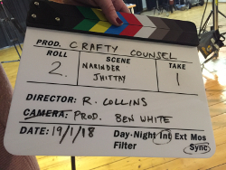 A clapperboard from one of the Crafty Counsel films