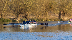 Rowers racing on the river in Oxford