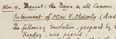 Detail from Christ Church Archives D&C ii.b.12 Interment of Miss V. Moberly