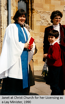Janet at Christ Church for her Licensing as a Lay Minister, 1990