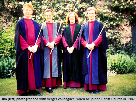 Jim (left) with verger colleagues, photographed when he joined Christ Church in 1987.