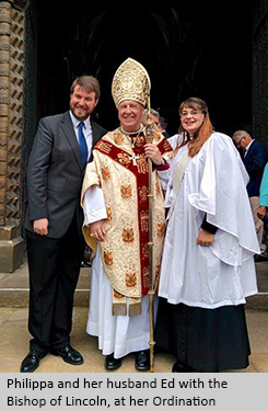 Philippa and her husband Ed with the Bishop of Lincoln at her Ordination