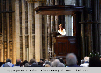 Philippa preaching during her curacy at Lincoln Cathedral