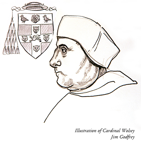 Illustration of Cardinal Wolsey by Jim Godfrey