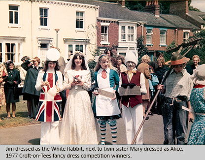 Jim dressed as the White Rabbit, next to twin sister Mary dressed as Alice. Croft-on-Tess 1977 fancy dress competition.