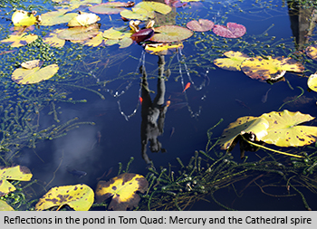 Reflection in the pond in Tom Quad: Mercury and the Cathedral Spire