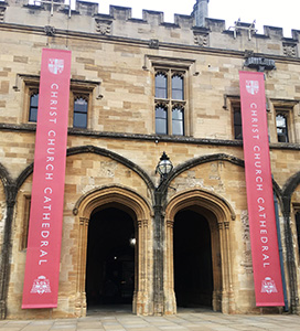 Banners by the entrance to the Cathedral