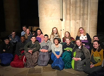 Participants in the 2018 Advent Sleepout Challenge