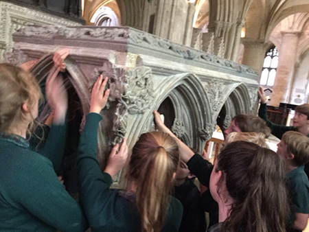 Secondary pupils exploring the Frideswide Shrine