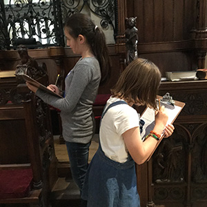 KS2 pupils working in the Cathedral