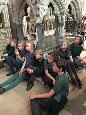 KS 3 - 4 pupils learning in the Cathedral