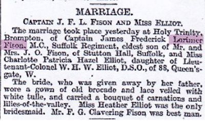 Announcement of the marriage of JFL Fison to Charlotte Elliot