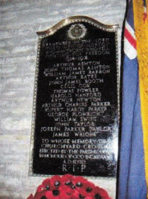 Memorial featuring the name of Lieutenant Parker