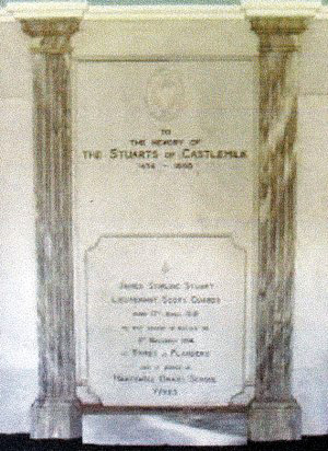 Memorial featuring the name of Lieutenant Stirling-Stuart