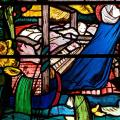 St Frideswide at prayer, detail of a stained glass window