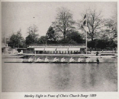 Henley Eight in front of the Christ Church Barge, 1889