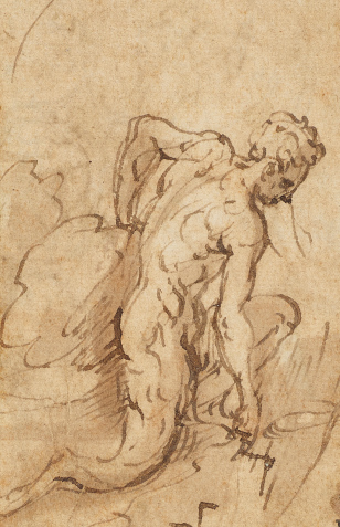 'A figure kneeling towards right', a drawing by Parmigianino