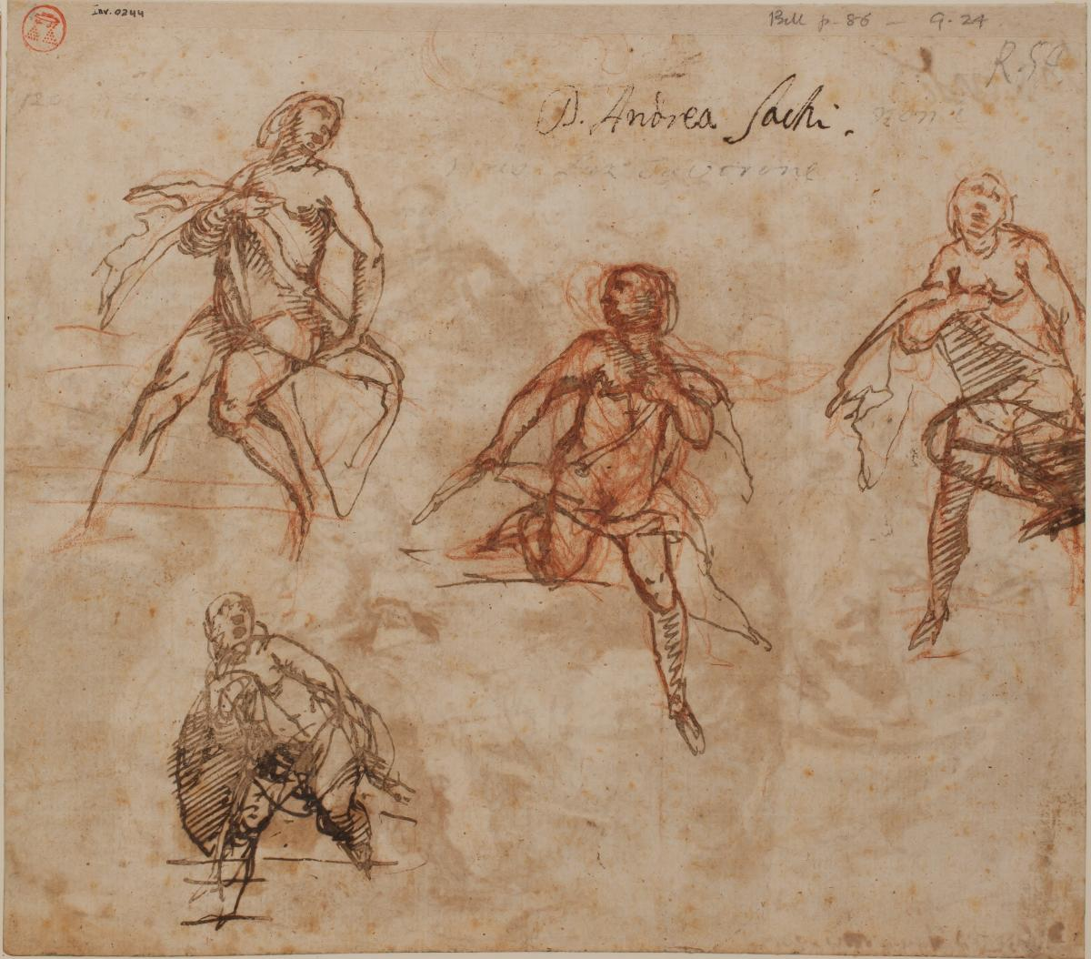 Drawing by Lazzaro Tavarone, 'Four studies for Susanna, or Bathsheba' (JBS 1241)