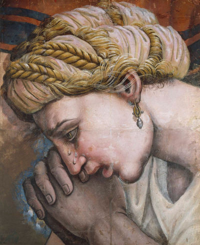 Detail of painting titled Head of a Weeping Woman