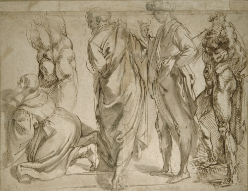 'Studies for the Adoration of the Kings', a drawing by Bartolommeo Passarotti