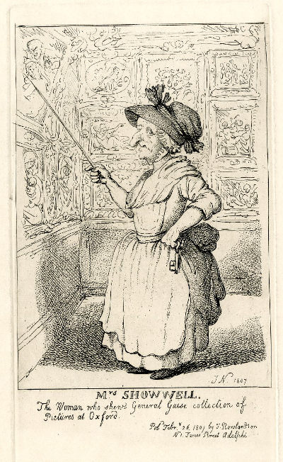 Drawing of Mrs Showell, and early guide at the Picture Gallery