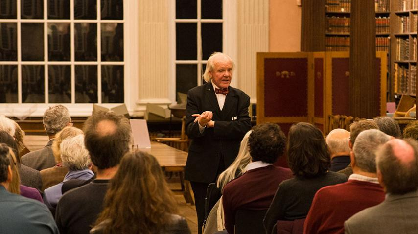 Dr Allan Chapman talking to a group in the Upper Library