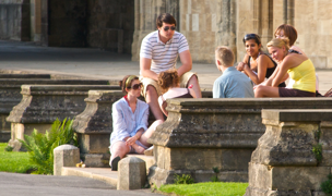 Students relaxing in Tom Quad