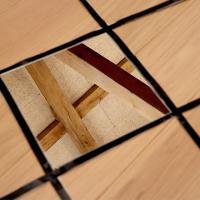 Untitled Op.9 (2020) Ena Naito - Mirror, black tape, paper, architecture Mirror dimensions: 30x30cm