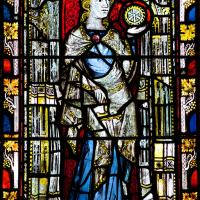 Image of St Catherine in a 14th century window located in the Latin Chapel