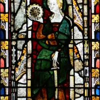 A second image of St Catherine in a 14th century window located in the Latin Chapel
