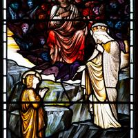 Detail from Burne-Jones' St Catherine window, depicting scenes from her life