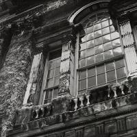 1950s crumbling stonework on the east of the Library